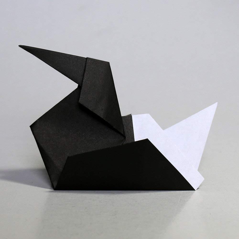 Folded Square Origami - Papel Negro de origami | 100 Hojas, 15cm Cuadrado | Pantone Process Negro: Amazon.es: Oficina y papelería