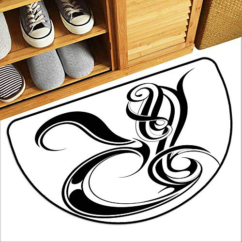 DILITECK Thin Door mat Letter R Gothic Medieval Inspired Alphabet Font Capital R Calligraphic Design Illustration Easy to Clean Carpet W24 xL16 Black White ()