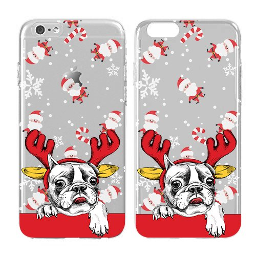 Christmas Iphone Case, Cool Christmas Gifts, Snowflakes , Bulldog Puppies Soft Flexible Transparent Skin, Scratch Proof Protective Slim Case for iPhone 5C