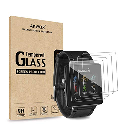 AKWOX (Pack of 4) Tempered Glass Screen Protector for Garmin Vivoactive, [0.3mm 2.5D High Definition 9H] Premium Clear Screen Protective Film for Garmin Vivoactive