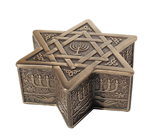 Star Of David With Menorah Jewelry Box 4 3/4 Inch long