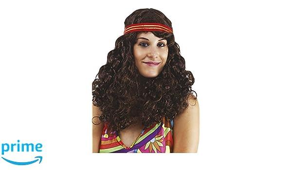 Ptit Clown P tit payaso - 76740 - Peluca hippie mujer - Frisée marrón con diadema - Talla única: Amazon.es: Juguetes y juegos