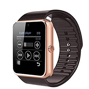 COLOFAN C08 Men and Women Fashion Bluetooth Smart Watches Can Phone and Camera Sports Watch(Gold with Brown Band)