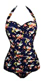 Angerella Retro Vintage Floral One Piece Pin Up Monokinis Swimsuit Navy,L