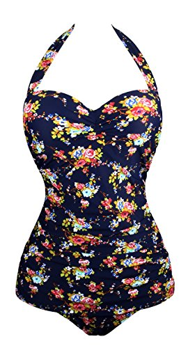 Angerella Retro Vintage One Piece Pin Up Monokinis Swimsuit (SST045-N1-2XL)