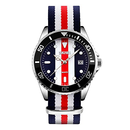Red Stripes Watch - Bounabay Men's Analog Watch with red,blue & white Stripe Canvas Nylon Strap Watch