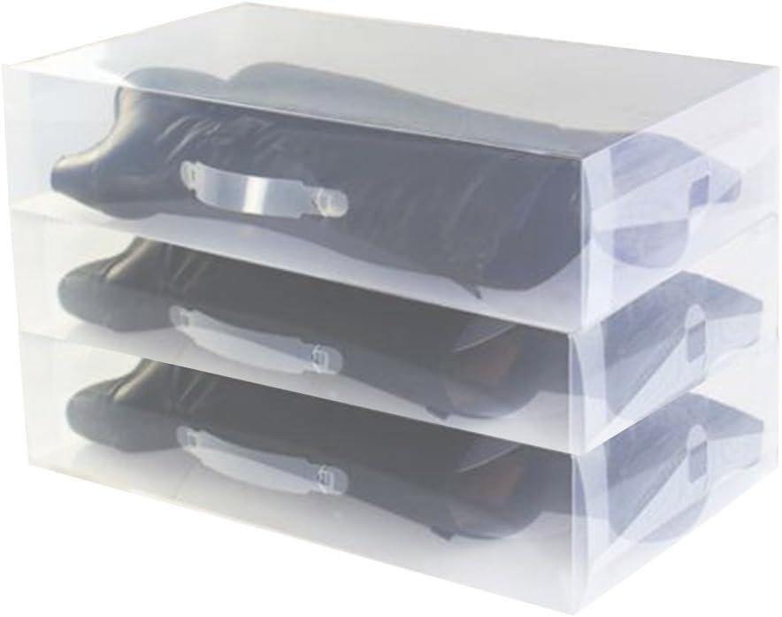 3 x Cajas para Botas Plegables de Plástico Uuhome, 52 x 30 x 11.5cm, Transparente: Amazon.es: Hogar