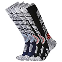 Mens & Womens Compression Crew Socks for Skiing Hiking Climbing Winter Sports