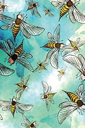 """- Watercolor Bees: 120 Pages 6"""" x 9"""" Blank Lined Notebook, Journal or Diary"""