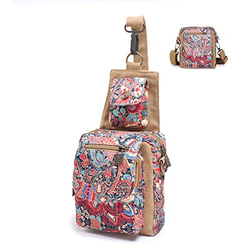 Black Butterfly Dual Purpose Chest Pack Crossbody Bag Canvas Shoulder Bags Original Bohemia for Women Teen Girls Outdoor (Red)