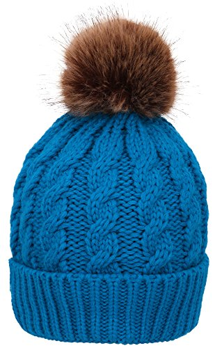 - Simplicity Winter Warm Knitted Faux Fur Pom Pom Beanie Hat for Women Royal Blue