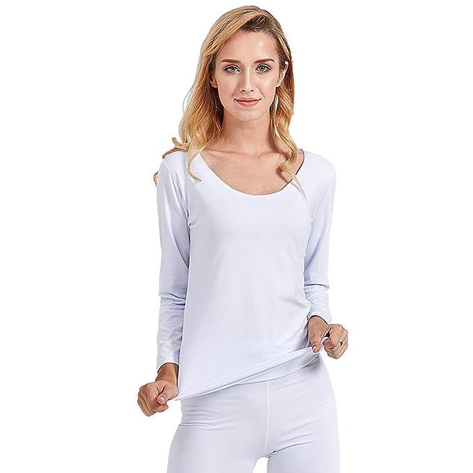 f7178ce63 Top Térmico De Mujer Cuello En Camisetas De V Manga Skinny Larga Color  Sólido Elástico Slim