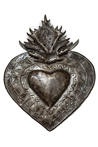 (Flaming Heart Wall Decor, Erzulie, Home Metal Art from Haiti 13