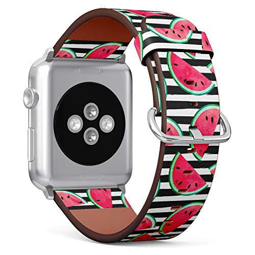 S-Type iWatch Leather Strap Printing Wristbands for Apple Watch 4/3/2/1 Sport Series (42mm) - Fruity Pattern with Watercolor Watermelon Pieces on Stripes
