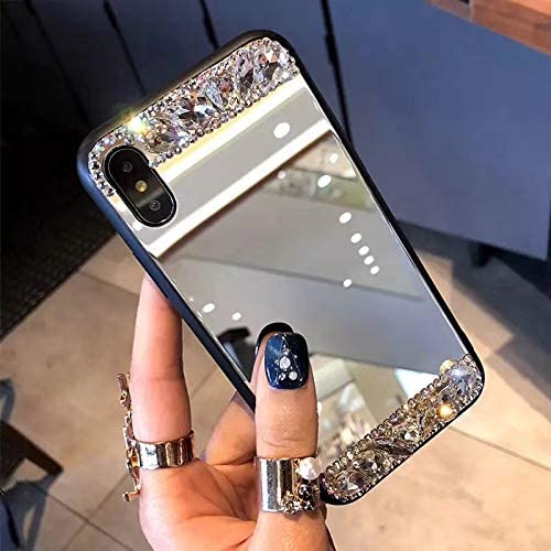 crystal/_phonecase Luxury 3D Bling Handmade Jewelled Pearl Crystals Diamond Clear Case Cover for Apple iPhone 7//8 iPhone 8 Case iPhone 7 Case Mirror /& Pearl