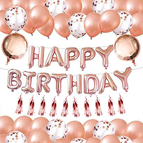 Rose Gold Theme birthday Party - All the balloons are rose gold, It will give you a unique rose gold world and Bring Happiness to You and Your Family