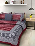 SheetKart Traditional Hand Block Printed 144 TC Cotton Double Bedsheet with 2 Pillow Covers - King Size, Maroon