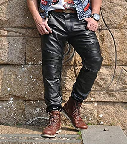 L- Motard Jean Pantalon Moto en Cuir Jeans Waist 34.5 Pantalon Moto en Cuir Homme Meilleure qualit/é Noir