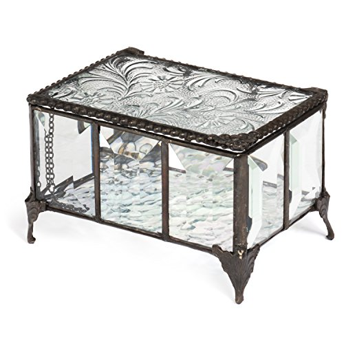 tage Beveled Glass Chest Antique Trim Keepsake Box Jewelry Display (Box Antique Jewelry Display)