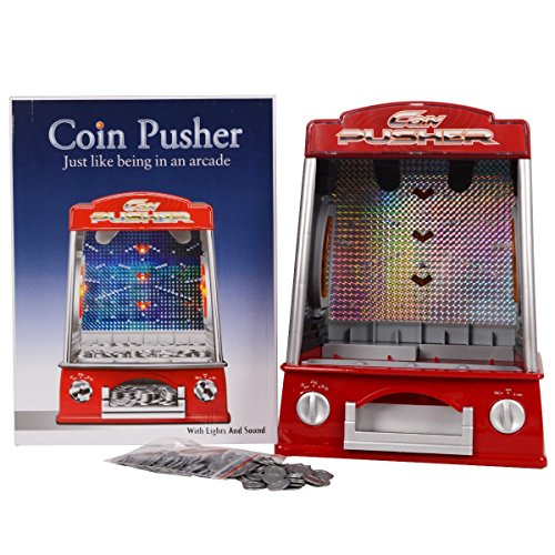 Mini Coin Pusher Arcade Game Machine , Lights and Sounds,150 Play Coins (Best Coin Dozer Game)