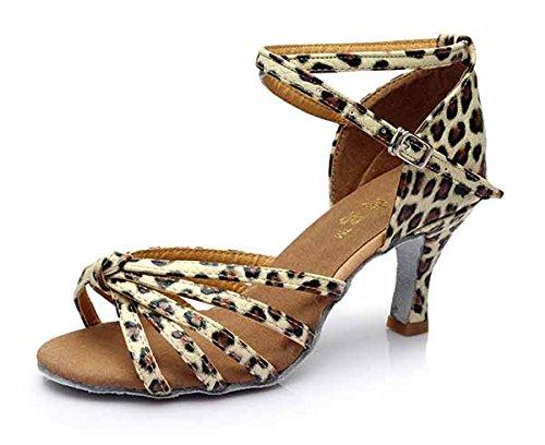 YFF Neue Women's Ballroom Latin Tango Schuhe 5 cm und 7 cm hohem Absatz,Leopard 1 7 cm,3,5