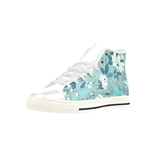 Turquoise Floral High Top Action Leather Men's Shoes