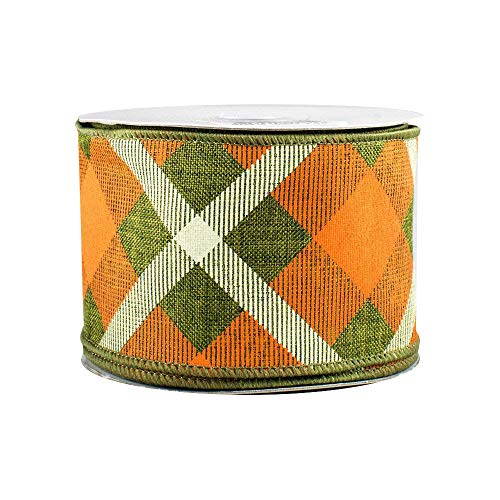 Orange Creamsicle Wired Halloween Ribbon - 2 1/2 inch x 10 Yards, Orange, Green and Cream Plaid, Christmas Decorations, St. Patrick's Day, Spring Decor, Wreath, Swag, Garland, Irish Flag, Easter