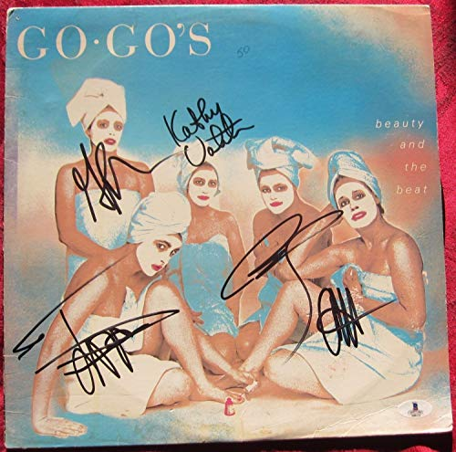 The Go-Gos 5X Autographed Signed Memorabilia Lp Album Cover Beauty And The Beat Bas Beckett