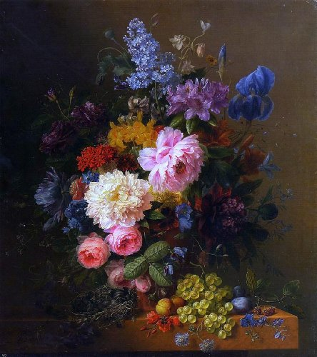 Arnoldus Bloemers Peonies, Roses, Irises, Lilies, Lilac and Other Flowers in a Vase on a Ledge Laden with Fruit - 20.1