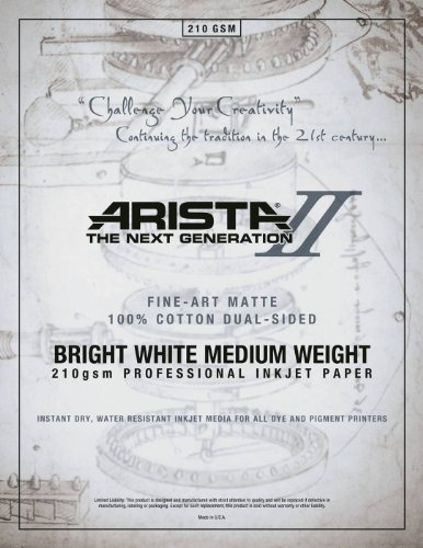 Arista II Fine Art Cotton Bright White 210Gsm 2-Sided Matte 8.5 x 11/25  sheets(2446812)
