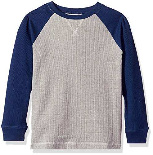 Crazy 8 Boys' Big Long Sleeve Waffle Knit Thermal Top, Thunder Gray, XS