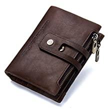 Contacts Mens Genuine Leather Bifold Double Zipper Coin Pocket Purse Wallet