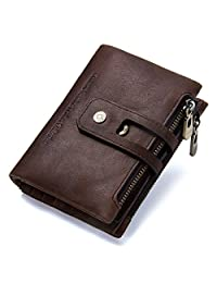 Contacts Mens Genuine Leather Bifold Double Zipper Coin Pocket Purse Wallet (Dark Coffee)
