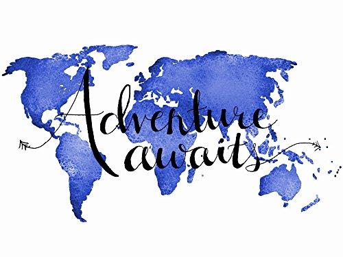 adventure awaits poster world map