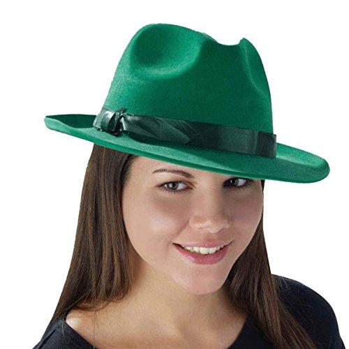 Green Flocked Fedora (Fedora Hat Green)
