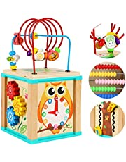 TOWO Wooden Activity Cube Beads Maze -5 Activities Roller Coaster Abacus Cog Wheels Gears Clock Zig Zag Slide-Early Educational toys for Baby -Educational Wooden Toys for 1 year old Montessori Toys