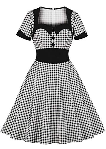 Nihsatin Women's Audrey Hepburn Vintage Fit Flare Dress Black & White Gingham Swing ()