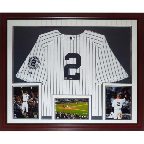 (Derek Jeter Autographed New York Yankees (Pinstripe #2 Retirement Patch) Deluxe Framed Jersey - Steiner )