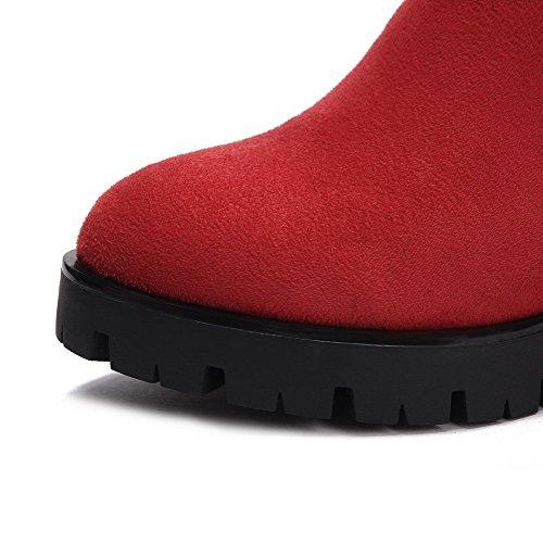 PU VogueZone009 Rund Reißverschluss Rot Spitze Leder Absatz Hoher Damen Niedrig Zehe Stiefel 7xqUC