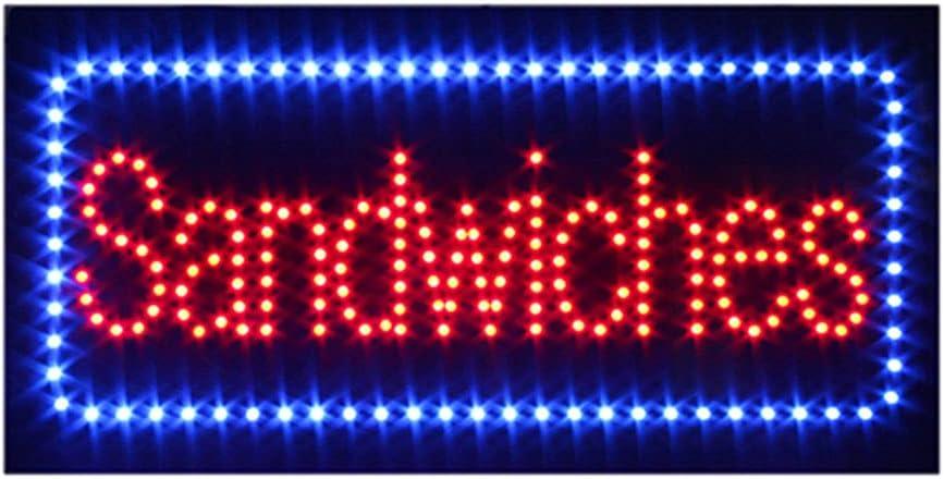 LED Deli Sandwich Sign, Super Bright Electric Advertising Display Board for Deli Sandwich Pizza Fast Food Restaurant Business Shop Store Window Bedroom Decor (Sandwich)