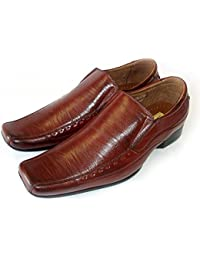 New Mens Leather Dress Shoes Loafers Slip On Comfort Free Shoe HORN/M18675 Brown