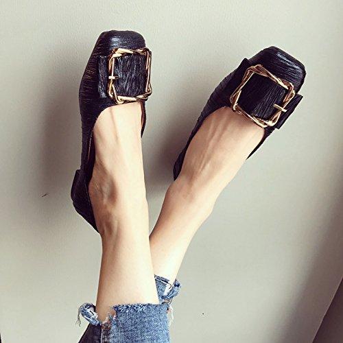 Plat Carre Rides Peu thirty Profonde Chaussures Noir Seules Kphy Chaussures Fond six Femme Tte Travail Tissu De Automne Antidrapante Bouche 8x7YxAn