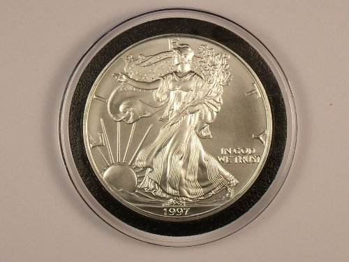 (1997 Unc. American Silver Eagle 1 Oz Of Fine Silver (Low Mintage Year))