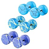gem cheater plugs - Aprilsky 3 Pairs Turquoise Gemstone Fake 8mm Round Barbell Plug Illusion Tunnel Cheater Stud Earrings