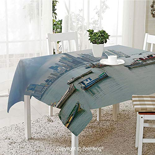 Fringe Panama - BeeMeng Spring and Easter Dinner Tablecloth,Kitchen Table Decoration,Landscape,Anchored Fishing Boats Skyscrapers Panama Cityscape Pacific Coast Central America,Multicolor,59 x 83 inches