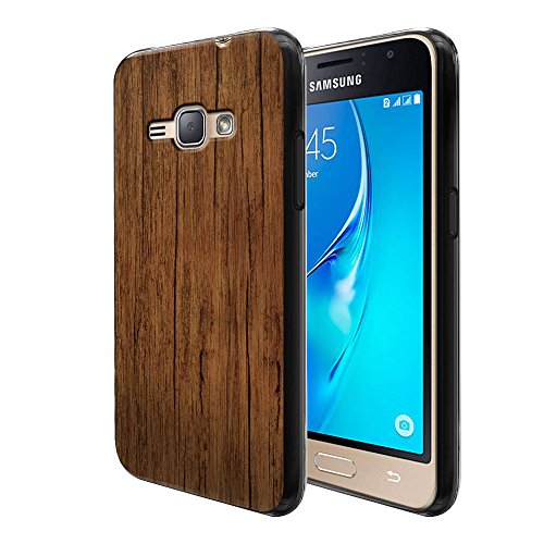 Samsung Galaxy J1 J120 2nd Gen 2016 AMP 2 2nd Gen 2016 Express 3 Luna S120 Case, FINCIBO Flexible TPU Black Silicone Soft Gel Skin Protector Cover Case, Red Brown (Luna Brown Wood)