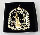 I Love My State Delaware Brass Ornament Black Leatherette Gift Box