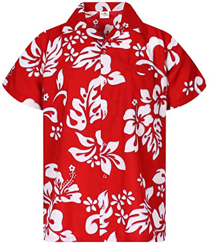 King Kameha Funky Hawaiian Shirt, Shortsleeve, Hibiscus, Ferrarired, 3XL ()