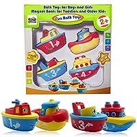 3 Bees & Me Bath Toys para niños y niñas - Juego de botes magnéticos para niños pequeños y niños - Diversión y educación