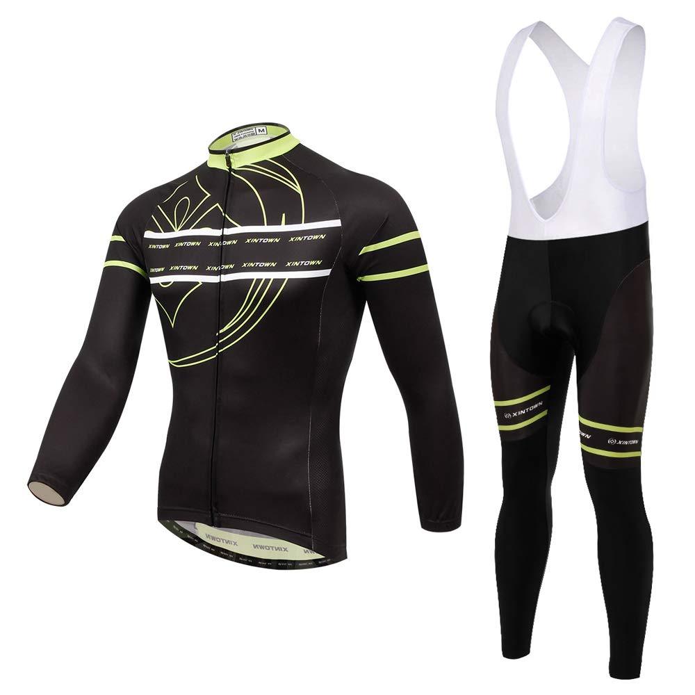 Pinjeer Herren Langarm Radtrikot Kleidung Outdoor Sportswear Atmungsaktive Frühling Herbst Fahrrad Reiten Jersey Bib Hosen Set Atmungsaktive Kleidung Sets